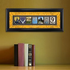 University of Wyoming Photo Name Print Matted, Framed and Personalized from Arttowngifts.com. With the name of school spelled out from photographs of architectural elements of actual buildings on campus this framed art is a perfect gift for the college graduate or alumni.