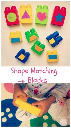 shape matching with blocks fun preschool learning activity or great for toddlers.