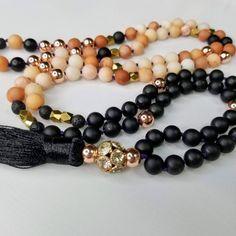 108 Knotted Mala, Pink Aventurine & Rainbow Obsidian Gemstone Prayer Beads for Happiness and Energy Protection Black Jewelry, Prayer Beads, Stone Beads, Bracelet Set, Beaded Bracelets, Necklaces, Gemstone Jewelry, Knots, Rainbow