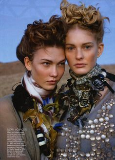 Vogue US | The Wanderers- Patricia van der Vliet & Karlie Kloss by Arthur Elgort