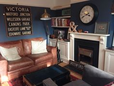 My (not quite finished) living room- painted in Farrow & Ball's new colour Stiffkey Blue Blue Lounge, Brown Lounge, Brown And Cream Living Room, Brown Couch Living Room, New Living Room, Dark Blue Living Room, Small Living, Paint Colors For Living Room, Room Colors