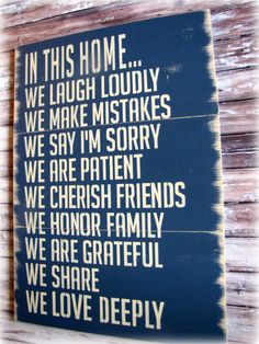 In This Home---House Rules---Antiqued Plank Typography Sign- In This House We Do- Navy Blue
