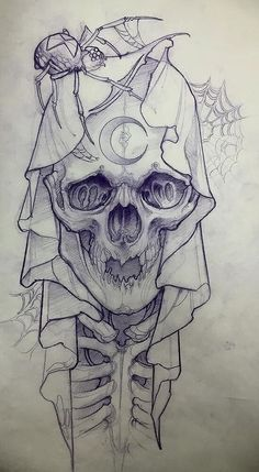 This image shows a cute drawing of a baby skeleton with a very big skull. The top of the skull head is covered with a large scarf which overlaps down to its body. There is a crescent shape which resembles the moon on the skull forehead. There is also a spider on top of its head with the web in the background. #tattoofriday #tattoos #tattooart #tattoodesign #tattooidea
