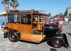 Last weekend Hubby and I went to the Woodie Show at the beach. As you might guess (if you didn't know), a Woodie is a car (usually a statio. Antique Trucks, Vintage Trucks, Antique Cars, Automobile, Surf Rods, Woody Wagon, Futuristic Motorcycle, Wooden Car, Vintage Surf