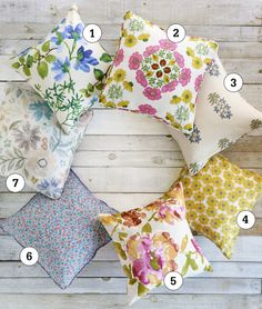 "These feminine fabrics give neutral furniture a fresh-from-the-garden makeover. Tip: All you need is a yard of fabric to make a 16"" x 16"" throw pillow."