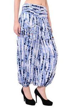 Rayon Tie-Dye Blue Color Two Pockets Party Trouser - Women's Casual Rayon Tie-Dye Trouser