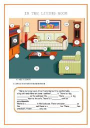 In The Living Room Furniture Prepositions Of Place A