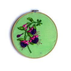 Wall hanging Embroidery ribbon Hoop Art Fuchsia framed Textile painting
