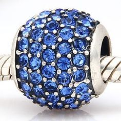 Everbling Blue Pave Lights With Blue Austrian Crystal Authentic 925 Sterling Silver Bead Fits Pandora Chamilia Biagi Troll Charms Europen Style Bracelets  Price : $22.99 http://www.everblingjewelry.com/Everbling-Austrian-Authentic-Sterling-Bracelets/dp/B00B0SUNXA