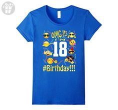 Womens Emoji Birthday Shirt For 18 Eighteen Year Old Girl Boy Party XL Royal Blue - Birthday shirts (*Amazon Partner-Link)