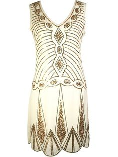 Vijiv Women's V Neck 1920s Embellished Gatsby Art Deco Sequin Flapper Dress