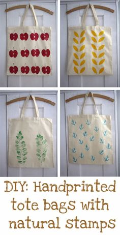 DIY Bags for Summer - DIY Handprinted Summer Tote Bags - Easy Ideas to Make for Beach and Pool - Quick Projects for a Bag on A Budget - Cute No Sew Idea, Quick Sewing Patterns - Paint and Crafts for Making Creative Beach Bags - Fun Tutorials for Kids, Teens, Teenagers, Girls and Adults http://diyprojectsforteens.com/diy-bags-summer Cotton Tote Bags, Cute Tote Bags, Diy Tote Bag, Printed Tote Bags, Canvas Tote Bags, Diy Bags, Diy Nature Projects, Diy Projects, Handmade Bags