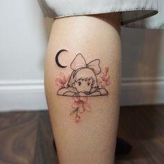 Kiki ❤️ thank you Elise Anime Tattoos, Sexy Tattoos, Body Art Tattoos, Small Tattoos, Cool Tattoos, Tattos, Studio Ghibli Tattoo, Tattoo Studio, Otaku