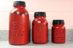 3 Piece Red Mason Jar Canister Set Kitchen by HereOnTheFarm, $45.00 LOVE!