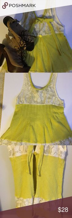 HP 4/9/17 Free People chartreuse open back top❤️❤️ Free People chartreuse top with open back. It also features cream crochet at neck and waist. The crochet is sheer. The top is hand wash. The top closes in the back with a button and tie as seen in pictures. The top is approx 27 inches from shoulder to bottom of hem. Free People Tops Blouses