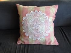 Recycled vintage blanket and doily cushion from mustloverust.com.au