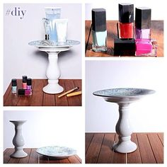 cute would this super easy cosmetics display look on your dresser or vanity? Everything's from Marshalls! Cosmetic Display, Marshalls, Candlesticks, Life Hacks, Dresser, Craft Projects, Sweet Home, Vanity, Cosmetics
