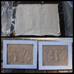 Preserving foot prints in the sand! Great way to preserve those little feet with some souvenir sand!