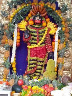 Fruits kapu Lord Vishnu, Lord Shiva, Rudra Shiva, Hanuman Images, Mata Rani, Jai Hanuman, Pooja Rooms, Fruit Displays, Hindus