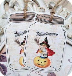 NEW  Vintage Kid Witch Halloween Mason Jar by LittlePaperFarmhouse, $5.95