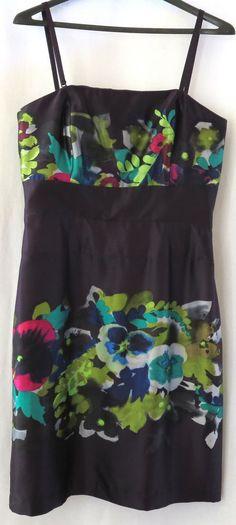 Suzi Chin Maggie Boutique 10 Purple Multi Color Floral Silk Cocktail Dress New #SuziChin #EmpireWaist #Cocktail