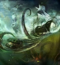 Creature of the Month: Cthulhu and the Kraken by Oberon Zell and Tom Williams Cthulhu, Fantasy Creatures, Mythical Creatures, Sea Creatures, Mythological Creatures, Fantasy Kunst, Fantasy Art, O Kraken, Kraken Tattoo