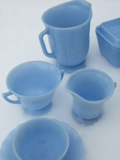 Pyrex blue delphite tea set....I'd kill for this. Maybe literately