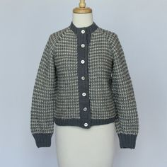 70's Hand Knit Wool Cardigan Sweater -  Gray/White Pattern - XSmall to Small