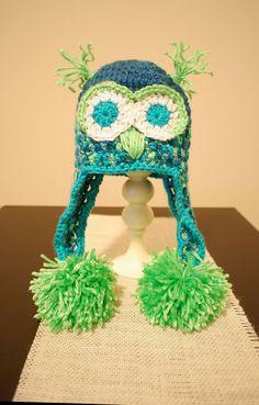 crocheted baby hats peacock | Baby Crochet Owl Hat 0-3 mos: Free Pattern | B.hooked Crochet