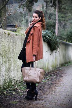 Celine boston outfit :)    #celine #boston #outfit #look #streetstyle #orange #coat #heels #fashionblogger #fashion #cool    VIA: www.ireneccloset.com