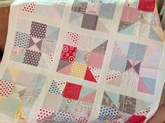 "Home Sweet Home Quilt Tutorial -                     Use charm blocks/5"" squares to make 9 patch cut corner to corner diagonally to make 4 triangles, mix them up & sew!"