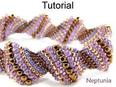 Beading Tutorial Pattern Bracelet - Increase Peyote Stitch - Simple Bead Patterns - Neptunia #5084