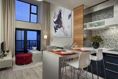 Offene Wohnidee Für Wohnzimmer Mit Kleiner Küche