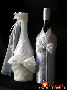 We have collected some awesome wedding bottle decor ideas. It will make your wedding table decorations perfect. Check out these wedding bottle DIY ideas on a budget to get some help. Wine Bottle Glasses, Wine Bottle Covers, Bride And Groom Glasses, Wedding Glasses, Wedding Wine Bottles, Champagne Bottles, Wine Bottle Crafts, Bottle Art, Romantic Wedding Colors