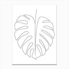 Leaf Drawing, Plant Drawing, Drawing Art, Square Art, Square Canvas, Leaf Outline, Botanical Line Drawing, Single Line Drawing, Abstract Line Art