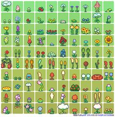 "2 x 100 Pixel Art Pieces: ""Flowers + Plants"" Pixel Artist: neorice Source…"