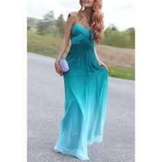$14.99 Chic Strapless Sleeveless Ombre Women's Maxi Dress