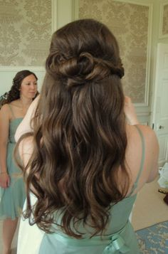 Bridesmaids Hair Half up Half Down. when i see all these half up half down wedding hairstyles with loose curls it always makes me jealous i wish i could do something like that I absolutely love this half up half down wedding hairstyles with loose curls so pretty! Perfect!!!!!