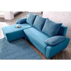Canapé convertible angle méridienne réversible droite/gauche en microfibre et tissu Alcatop - Turquoise- Vue 1 Sectional Couch, Furniture, Decor, Home Decor