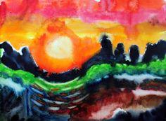 #16 -Holey Moley Sunset  365 Days of Art & Creativity  becreativemary.com
