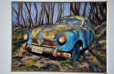 Pastel sec, automobile Pastel, Automobile, Creations, Photos, Etsy, Vintage, Car, Painting, Handmade Gifts