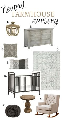neutral farmhouse nursery. gender neutral nursery. cozy nursery. tufted rocking chair. metal crib. gray nursery