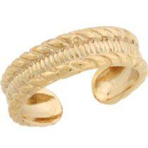 14k Yellow Real Gold 5mm Band Designer Womens Toe Ring