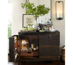 Ludlow Trunk with Stand Bar, Black | Pottery Barn