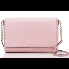 """Kate Spade Charlotte Street Alek in Posy Pink Made of crosshatched leather and 14-karat light gold plated hardware, jacquard lining DETAILS interior slide pocket interior zipper pocket cross body snap closure  signature kate spade stud.                                         Size: 6.5""""h x 9.9""""w x 1.6""""d Drop Length 22""""    Brand new with tag! NO TRADES! kate spade Bags Crossbody Bags"""