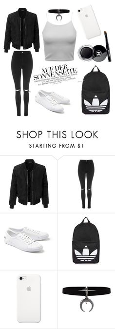 """Black & White"" by arianaeka ❤ liked on Polyvore featuring LE3NO, Topshop, Lacoste and Chanel"