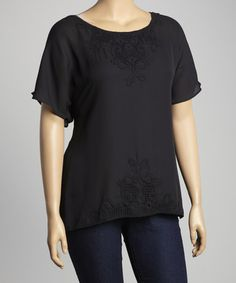Another great find on #zulily! Black Lace-Trim Cape-Sleeve Top - Plus by Simply Irresistible #zulilyfinds