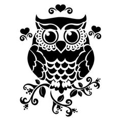 """Owl 190 micron Mylar Stencil durable and sturdy- 6 x 6 """" - 8 x 8 """" - 12 x Free UK p&p Silhouette Cameo Projects, Silhouette Design, Owl Silhouette, Silhouette Files, Silhouette Images, Kirigami, Stencils, Owl Stencil, Stencil Patterns"""