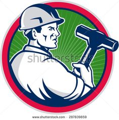 Illustration of a demolition worker wearing hardhat holding sledgehammer viewed from the side set inside circle with sunburst in the background done in retro style.