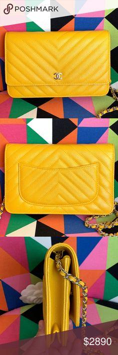 d9132da777 Chanel Wallet on Chain WOC Yellow Chevron Caviar Selling my like new WOC.  Full set
